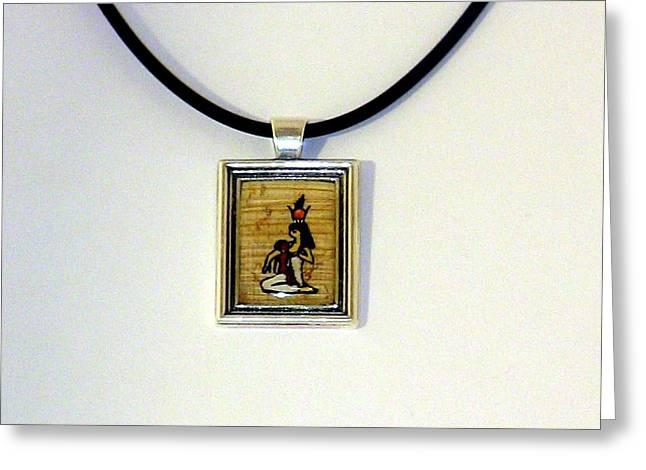 Horus Greeting Cards - Goddess Isis Nursing Horus Papyrus Necklace Greeting Card by Pet Serrano