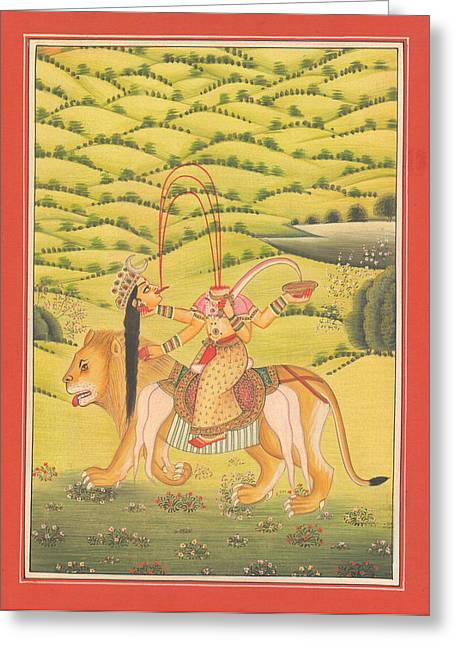 Goddess Kali Greeting Cards - Goddess Kali Chinnamastka Tantra Tantric Artwork Paper Painting Miniature Painting Art Gallery Greeting Card by A K Mundhra