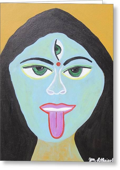 Goddess Kali Greeting Cards - Goddess Kali Greeting Card by Jen Lothrigel