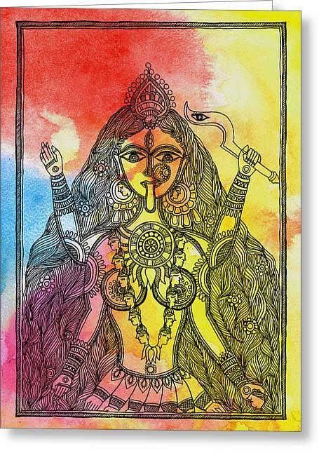 Hindu Goddess Paintings Greeting Cards - Goddess Kali Greeting Card by Shishu Suman