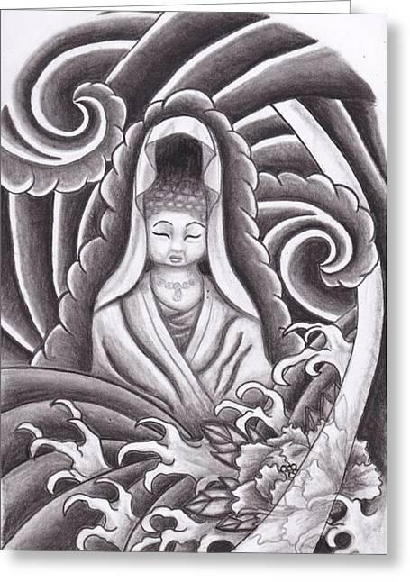 Grey Clouds Drawings Greeting Cards - Goddess Kuan Yin Greeting Card by Amanda Machin