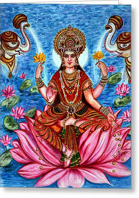 Hindu Goddess Digital Greeting Cards - Goddess Lakshmi Greeting Card by Harsh Malik