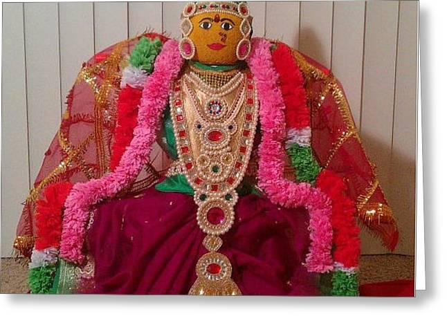 Goddess Lakshmi Idol Greeting Card by M Ande
