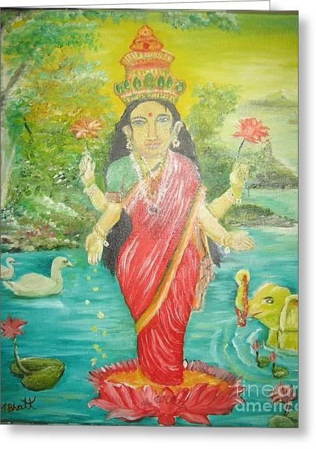 Hindu Goddess Greeting Cards - Goddess Mahalaxmi Greeting Card by M Bhatt