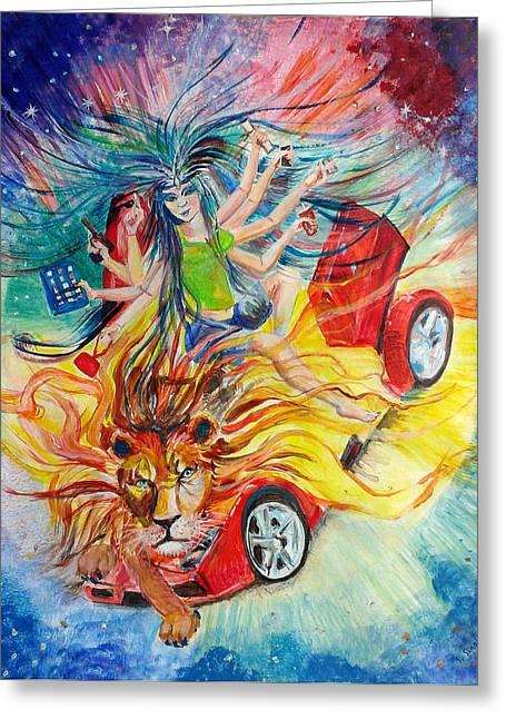 Goddess Durga Paintings Greeting Cards - Goddess of 21st C Greeting Card by Sarabjit Singh