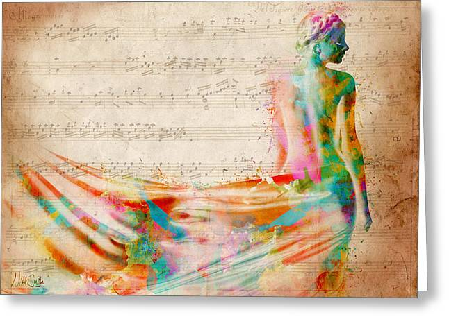 Curved Greeting Cards - Goddess of Music Greeting Card by Nikki Smith