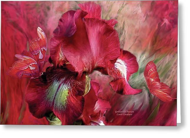 Goddess Of Passion Greeting Card by Carol Cavalaris