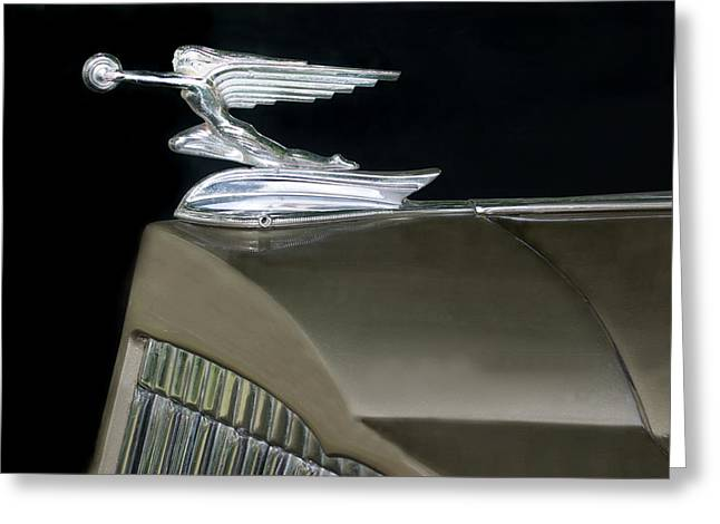 Collector Hood Ornament Greeting Cards - Packard Motor Company Goddess of Speed Greeting Card by Kathy Krause