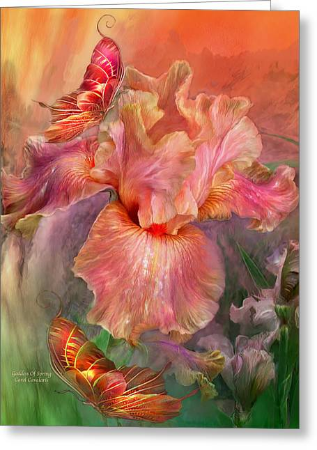Goddess Of Spring Greeting Card by Carol Cavalaris