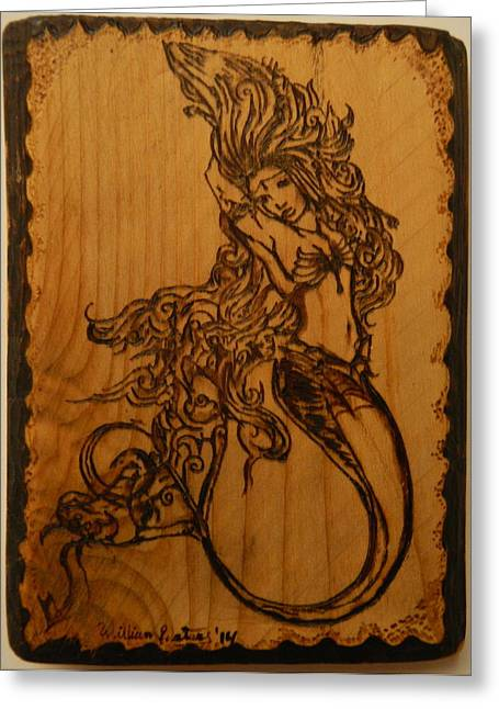 Fish Print Pyrography Greeting Cards - Goddess of the deep Greeting Card by William Waters