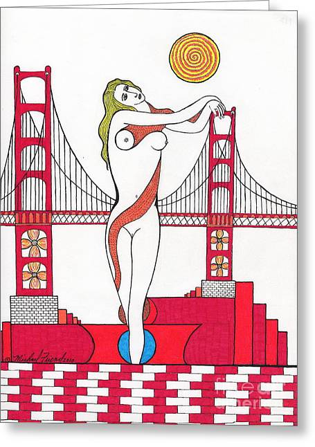 Buildings By The Ocean Greeting Cards - Goddess of the Golden Gate Greeting Card by Michael Friend