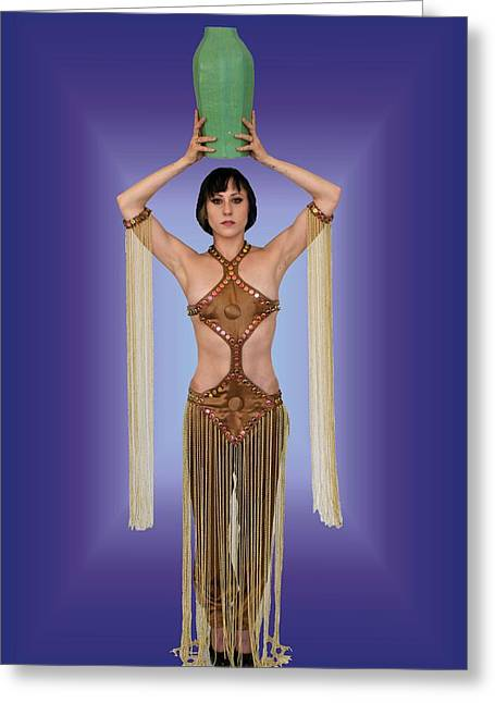 Erte Greeting Cards - Goddess of the Green Vase Greeting Card by Don McCunn
