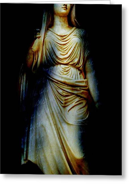 Statue Portrait Greeting Cards - Goddess of the Night Greeting Card by Diana Angstadt