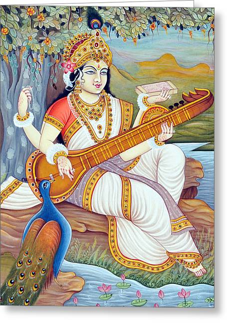 Hindu Goddess Greeting Cards - Goddess Saraswati  Greeting Card by Dpa-bdr-25