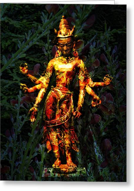 Hindu Goddess Greeting Cards - Goddess with 6 arms Greeting Card by Joel Zimmerman