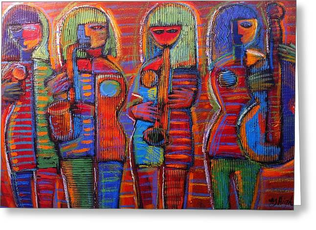 Quartet Mixed Media Greeting Cards - Goddesss of Music Bring us Jazz Greeting Card by Gerry High