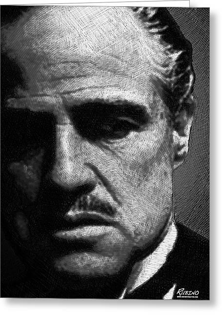Las Vegas Drawings Greeting Cards - Godfather Marlon Brando Greeting Card by Tony Rubino