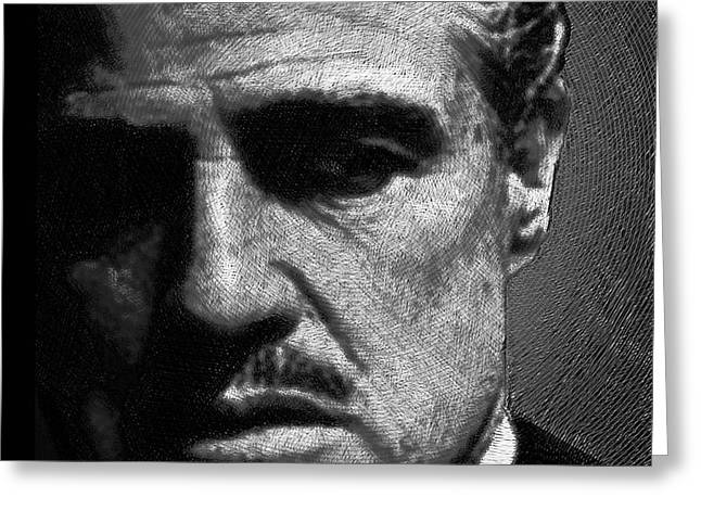 Classic Hollywood Drawings Greeting Cards - Godfather Marlon Brando Greeting Card by Tony Rubino
