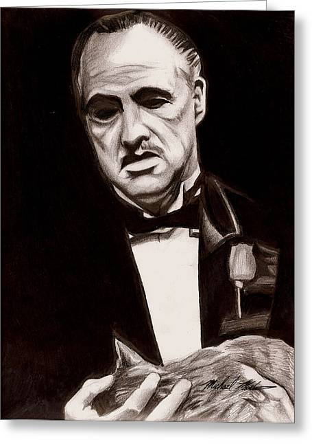 Francis Mixed Media Greeting Cards - Godfather Greeting Card by Michael Mestas
