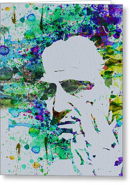 Marlon Brando Poster Greeting Cards - Godfather Watercolor Greeting Card by Naxart Studio
