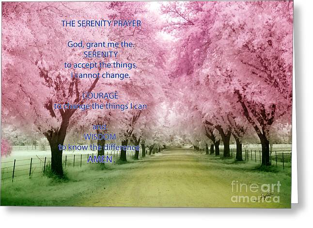 Serenity Prayer Mixed Media Greeting Cards - Gods Meadow the Serenity Prayer Greeting Card by Heinz G Mielke