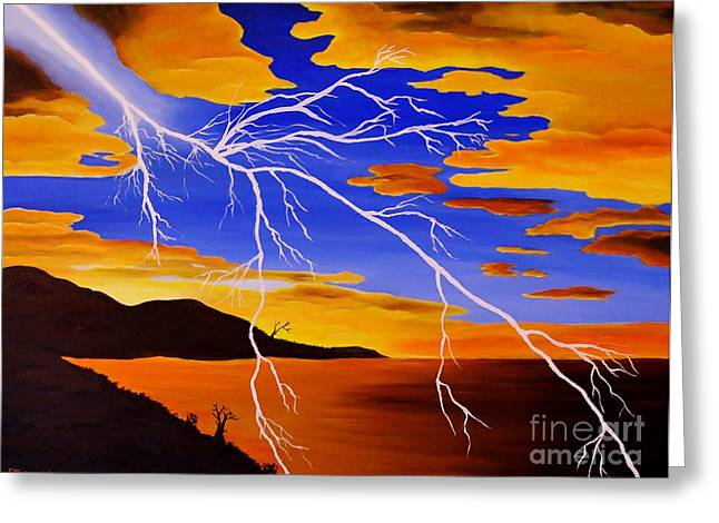 Lightning Strike Paintings Greeting Cards - Gods Canvas Greeting Card by Tessa Dutoit