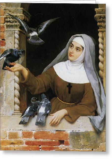 Religious Art Digital Art Greeting Cards - Gods Creatures Greeting Card by Eugene de Blaas