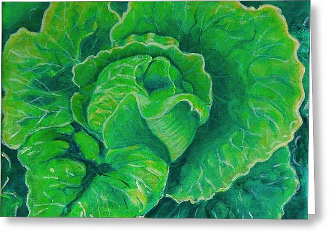 Caroline Street Greeting Cards - Gods Kitchen Series No 5 Lettuce Greeting Card by Caroline Street