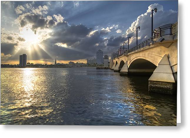 Billowing Greeting Cards - Gods Light Over West Palm Beach Greeting Card by Debra and Dave Vanderlaan