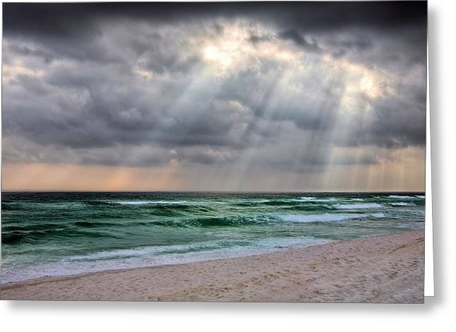 Emerald Coast Greeting Cards - Gods Light Shines Down on Destin Greeting Card by JC Findley