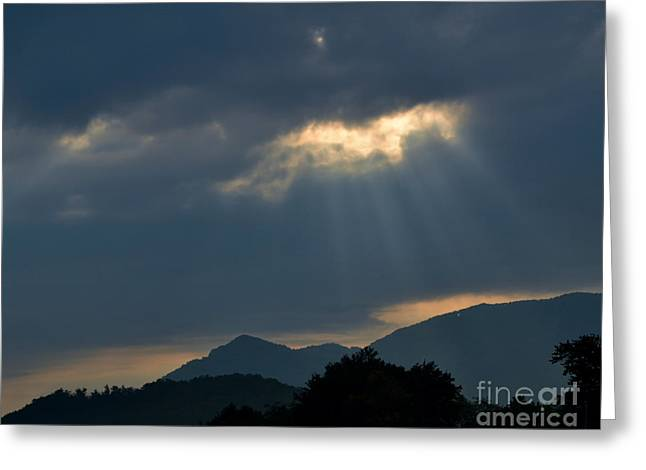 Sun Breaking Through Clouds Photographs Greeting Cards - Gods Morning Rays Greeting Card by Eva Thomas