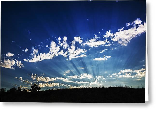 God Beams Greeting Cards - Gods Rays Greeting Card by Vishwanath Bhat