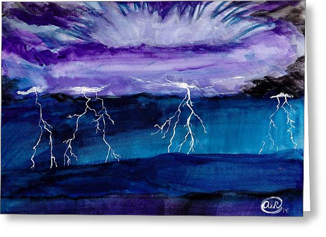 Lightning Strike Paintings Greeting Cards - Gods Strike Greeting Card by Amanda Roberts