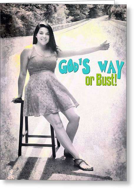 Smiling Jesus Digital Greeting Cards - Gods Way Greeting Card by Michelle Greene Wheeler