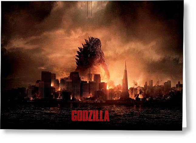 Movie Poster Prints Greeting Cards - Godzilla 2014 Greeting Card by Movie Poster Prints