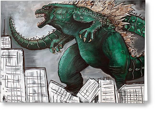 Godzilla Gojira Greeting Card by Laura Barbosa