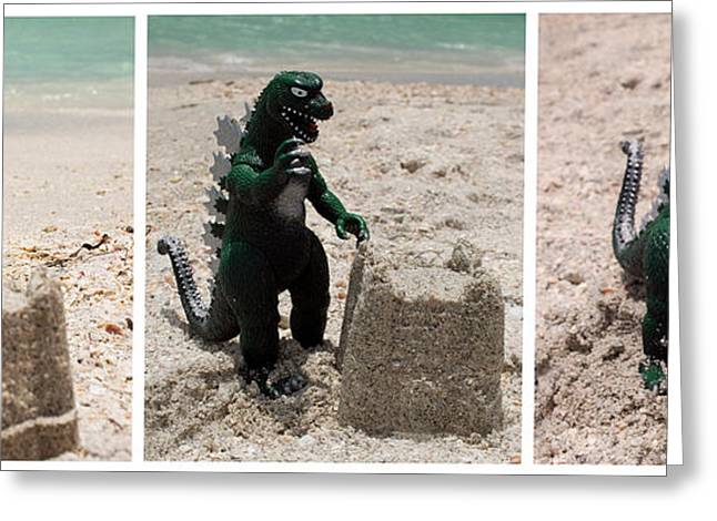 Sand Castles Greeting Cards - Godzilla Versus the Sand Castle Greeting Card by William Patrick
