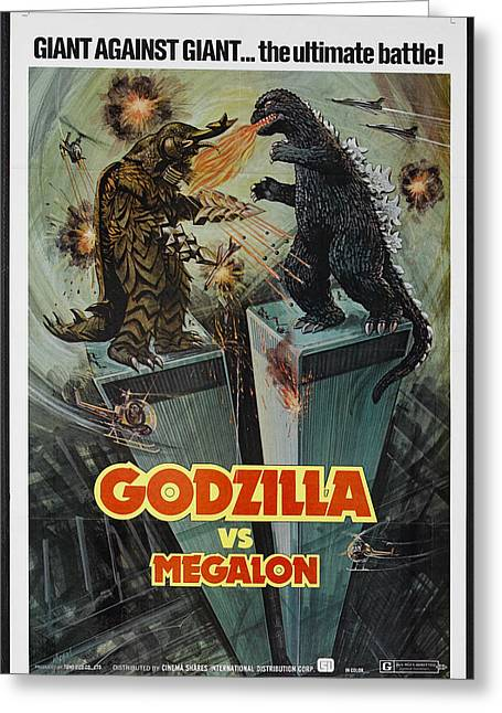 Vs Greeting Cards - Godzilla vs Megalon Poster Greeting Card by Gianfranco Weiss