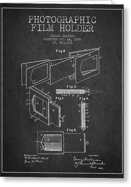 Famous Photographers Digital Art Greeting Cards - George Eastman Film Holder Patent from 1896 - Dark Greeting Card by Aged Pixel