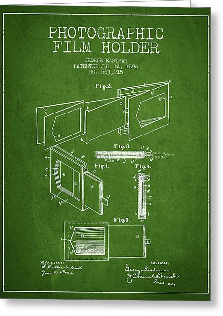 Famous Photographers Greeting Cards - George Eastman Film Holder Patent from 1896 - Green Greeting Card by Aged Pixel
