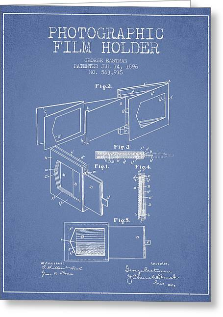 Camera Greeting Cards - George Eastman Film Holder Patent from 1896 - Light Blue Greeting Card by Aged Pixel
