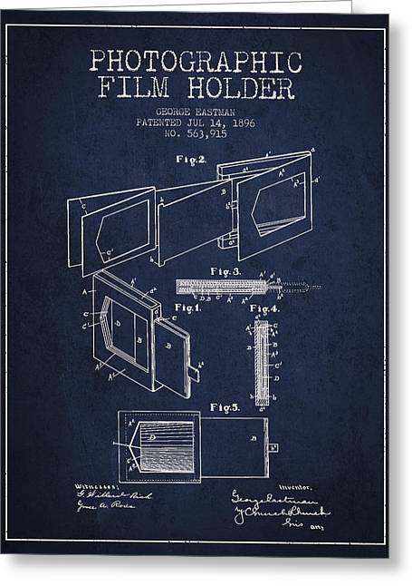 Famous Photographer Greeting Cards - George Eastman Film Holder Patent from 1896 - Navy Blue Greeting Card by Aged Pixel