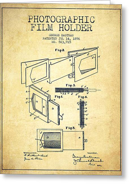 Famous Photographers Greeting Cards - George Eastman Film Holder Patent from 1896 - Vintage Greeting Card by Aged Pixel
