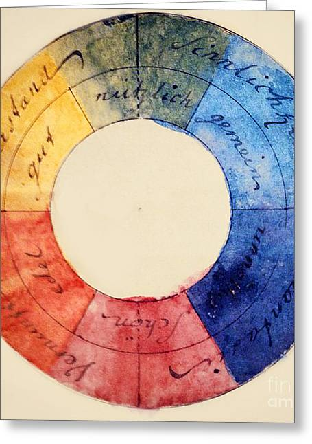 Wolfgang Greeting Cards - Goethes Color Wheel Greeting Card by Science Source