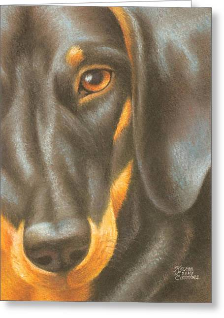 Puppies Pastels Greeting Cards - Goggie Daschund Greeting Card by Karen Coombes