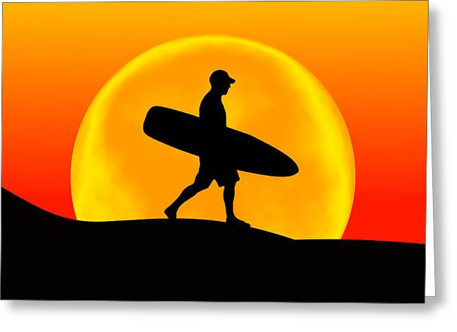 Surfer Art Greeting Cards - Goin for A Surf Greeting Card by Andreas Thust