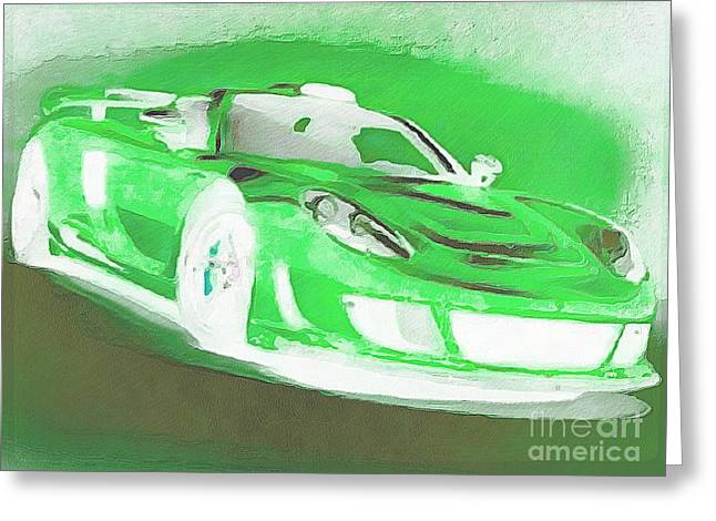 Goin Greeting Cards - Goin Glow Green Greeting Card by Catherine Lott