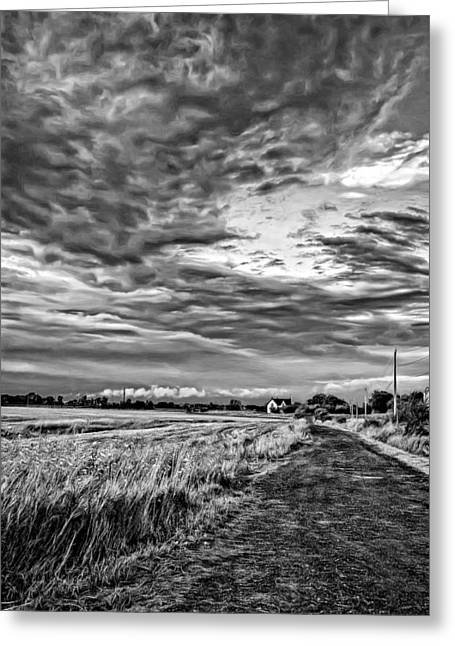Storm Prints Photographs Greeting Cards - Goin Home - Paint bw Greeting Card by Steve Harrington