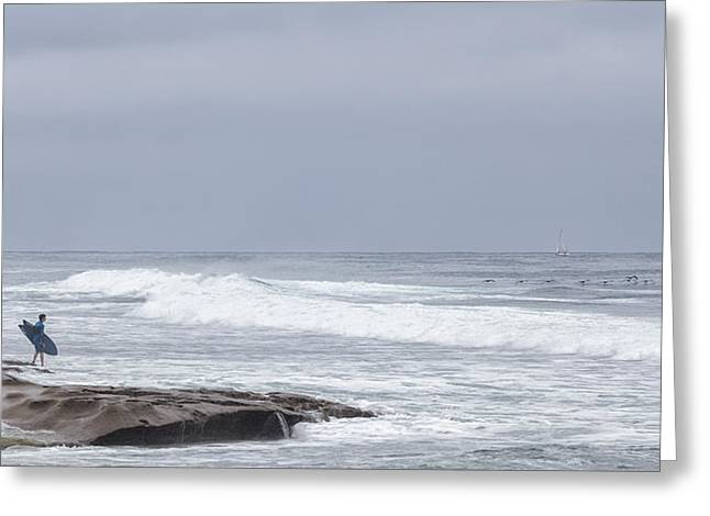 La Jolla Surfers Greeting Cards - Goin in Greeting Card by Peter Tellone
