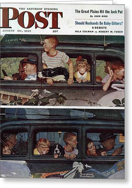 Norman Drawings Greeting Cards - Going and Coming by Norman Rockwell Greeting Card by Nomad Art And  Design